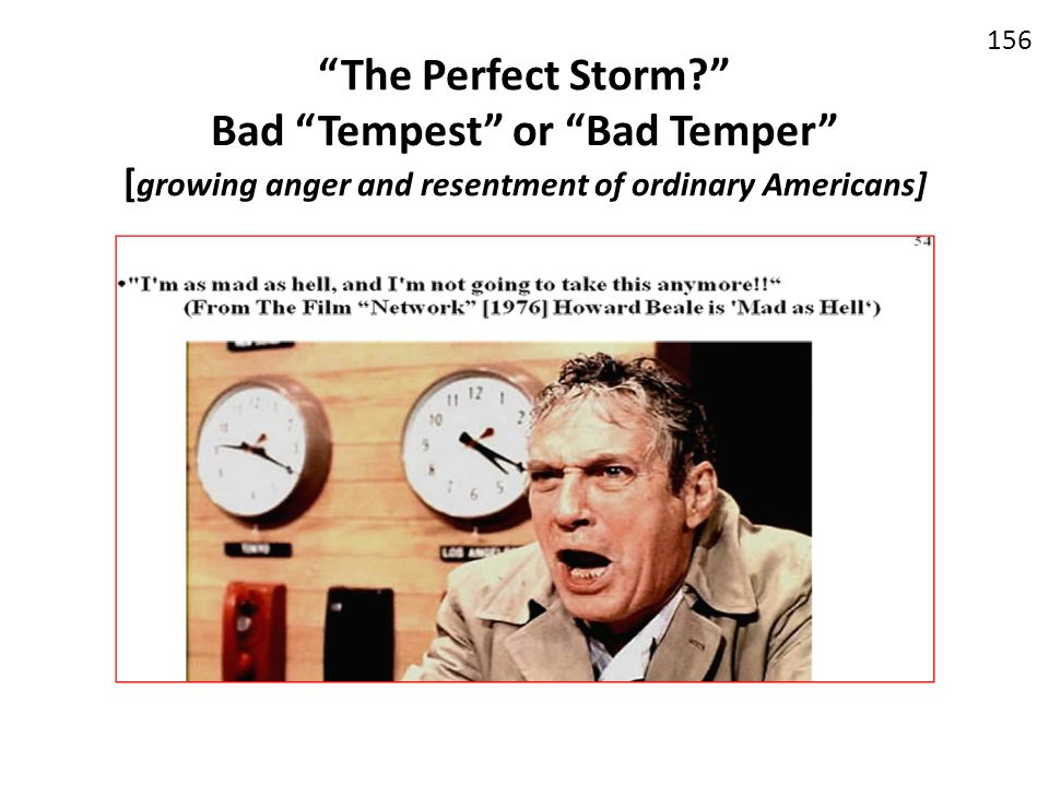 The Perfect Storm Bad Tempest or Bad Temper [growing anger and resentment of ordinary Americans]